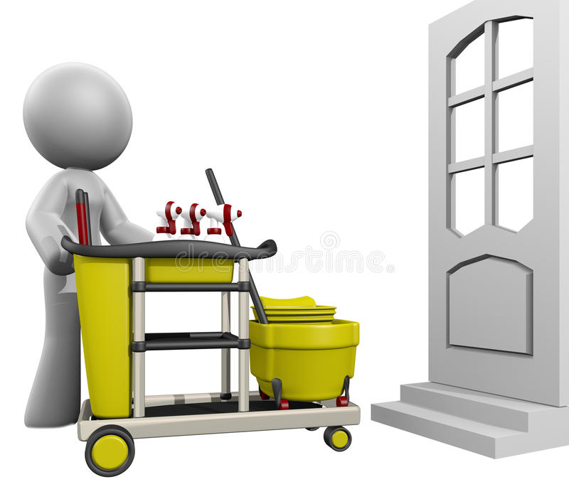 3d Dame House Cleaning stock illustratie