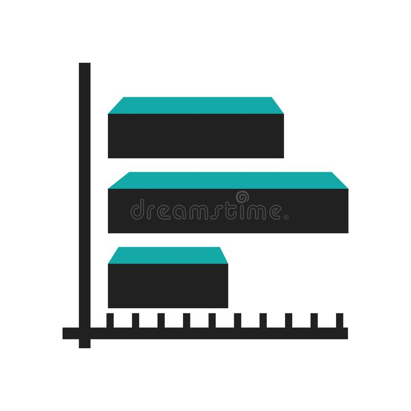 3d dane analityka barów ikony wektoru graficzny znak i symbol odizolowywający na białym tle, 3d dane analityka zakazujemy graficz royalty ilustracja