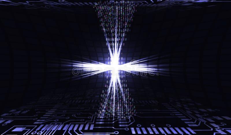 3d dane odpłacają się transfer technologii 3d abstrakcjonistyczni ilustracyjni internety Układ scalony w akci Organizacja praca D royalty ilustracja