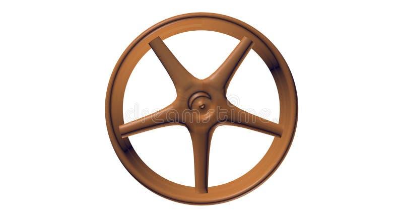 3D Dark-Wooden Spoked Wheel stock image