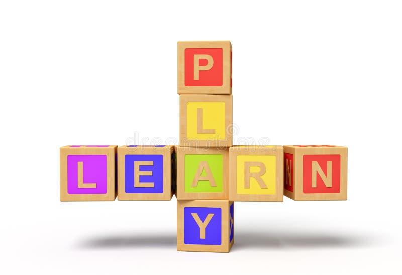 3d Darstellung von bunten Buchstabenspielzeugblöcken, die Zeichen 'LEARN' und 'PLAY' enthalten vektor abbildung