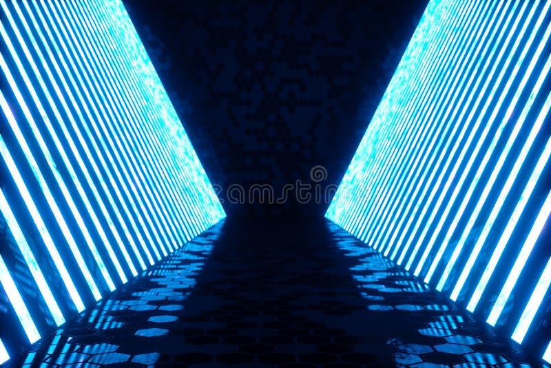 3D, das abstrakte Toilette Innen mit blauen Neonröhren macht Futuristischer Architekturhintergrund Modell für Ihr lizenzfreie abbildung