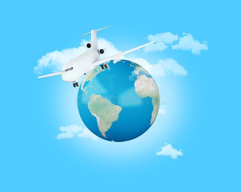 3d, das auf der ganzen Welt mit dem Flugzeug reist vektor abbildung