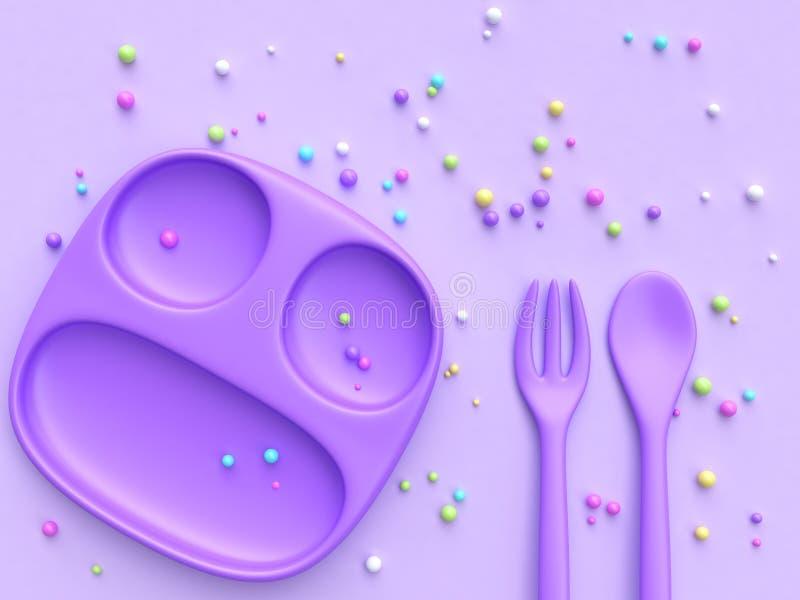 3d, das bunten Süßigkeitsbereich der purpurroten Tellerlöffelgabel überträgt lizenzfreie abbildung