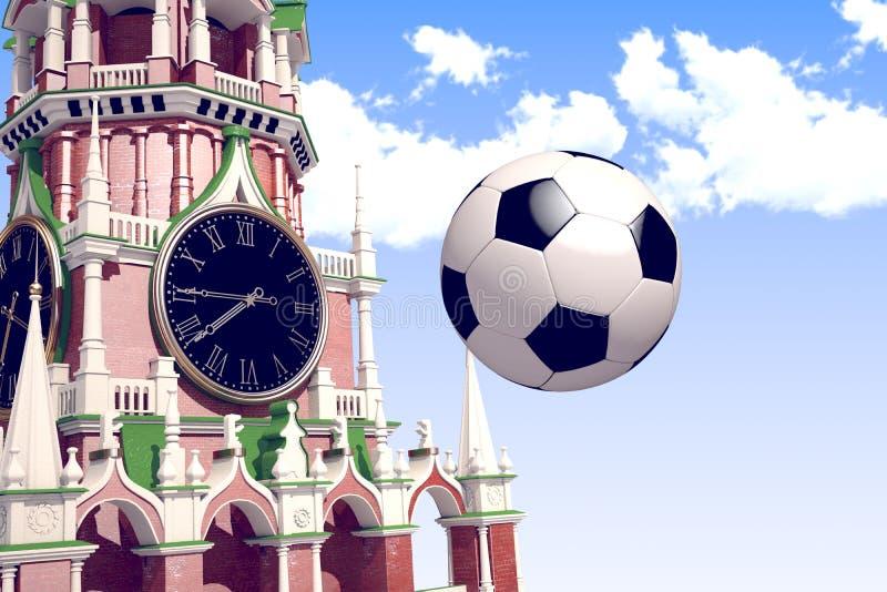 3d, das den Fußball nahe Moskau der Kreml überträgt stockfotografie
