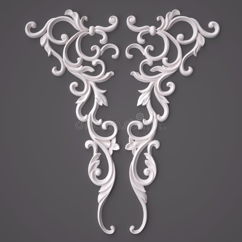 3d, das den schönen weißen Gips schnitzt Dekoration der Architektur überträgt klassisches Innendetail gemacht vom Gips lizenzfreie abbildung