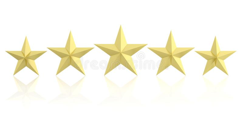 3d, das fünf goldene Sterne überträgt vektor abbildung