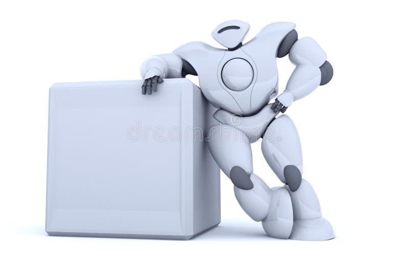 3D, das futuristischen Robotershowschirm überträgt lizenzfreie abbildung