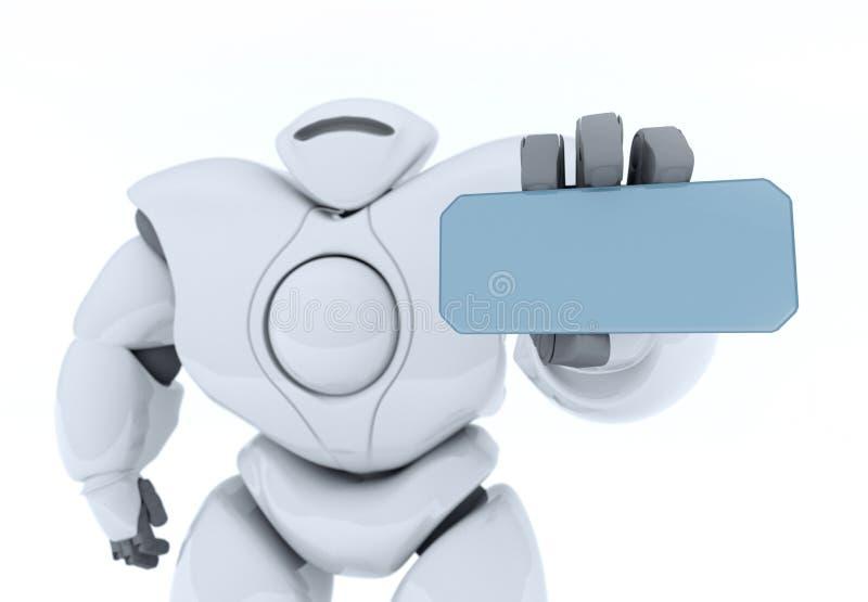 3D, das futuristischen Robotershowschirm überträgt stock abbildung