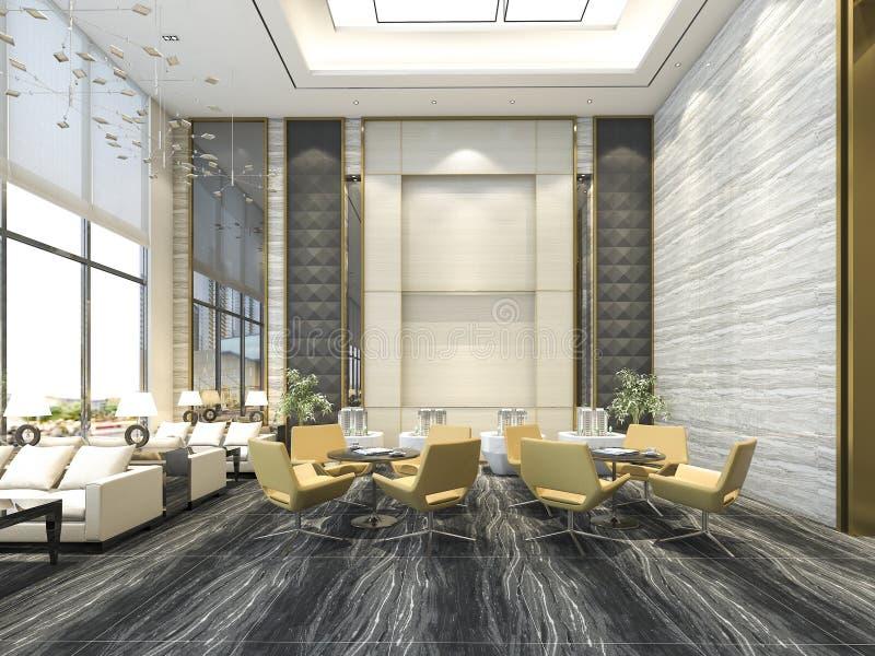 3d, das gelben Stuhl im Luxushotelaufenthaltsraum und -aufnahme überträgt lizenzfreie abbildung