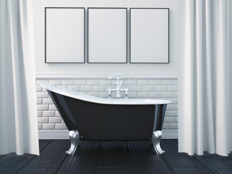 3d, das Innenraum eines Badezimmers überträgt stock abbildung