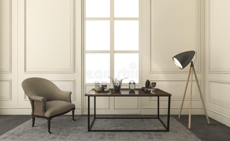 3d, das klassische Möbel und irgendeinen Zusatz im Wohnzimmer überträgt lizenzfreie abbildung
