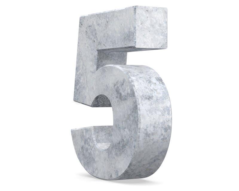 3D, das konkrete Nr. 5 fünf überträgt 3d übertragen Abbildung stock abbildung