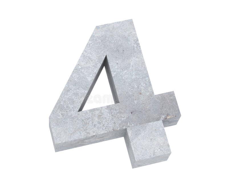 3D, das konkrete Nr. 4 vier überträgt 3d übertragen Abbildung vektor abbildung