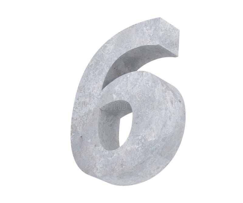 3D, das konkrete Zahl 6 sechs überträgt 3d übertragen Abbildung lizenzfreie abbildung