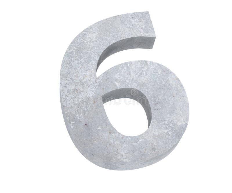 3D, das konkrete Zahl 6 sechs überträgt 3d übertragen Abbildung vektor abbildung