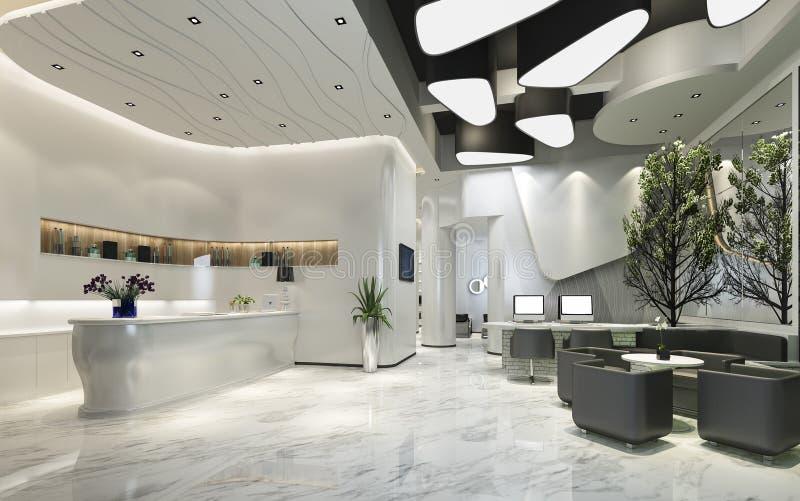 3d, das moderne Luxushotelaufnahme und -aufenthaltsraum überträgt lizenzfreie abbildung
