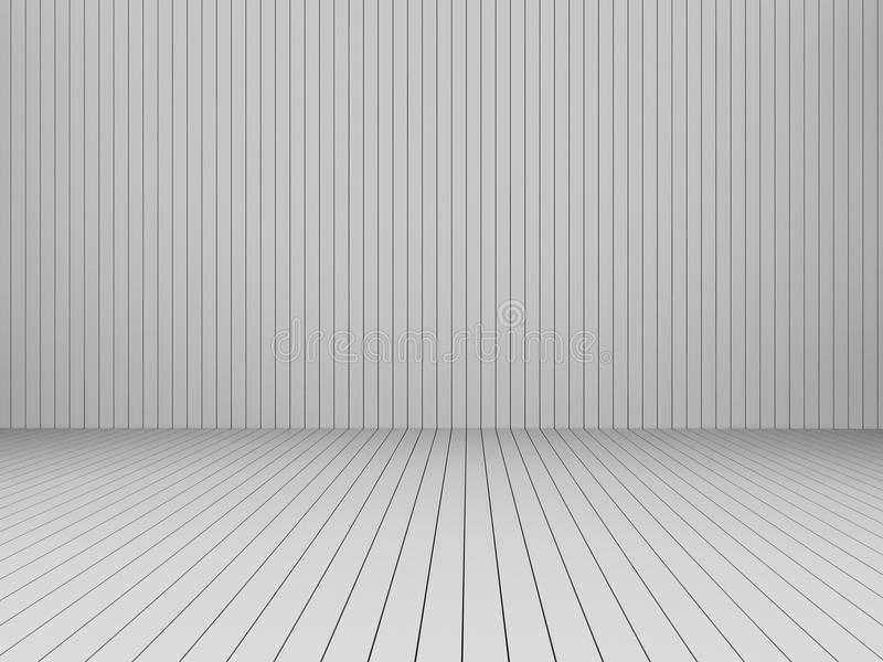3D, das moderne weiße Latten Wand und Boden, Innen-illustr überträgt stock abbildung