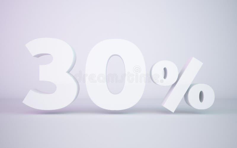 3D, das Prozentsatz des Weiß 30 überträgt, lokalisierte weißen Hintergrund stock abbildung