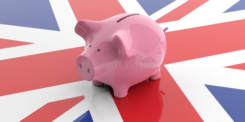 3d, das rosa Sparschwein auf BRITISCHER Flagge überträgt lizenzfreie abbildung