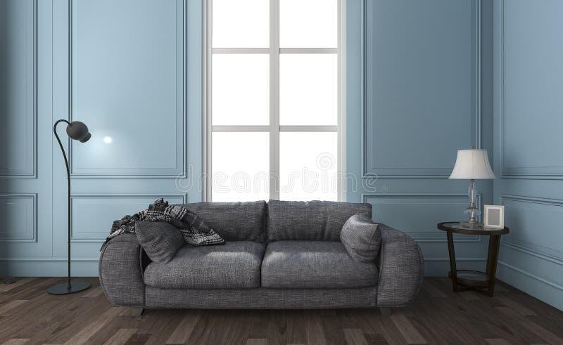 3d, das schönes blaues Wohnzimmer mit Dachbodensofa überträgt lizenzfreie abbildung