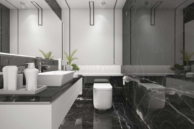 3d, das schwarzes modernes Dachbodenbadezimmer mit Luxusfliesendekor überträgt stock abbildung