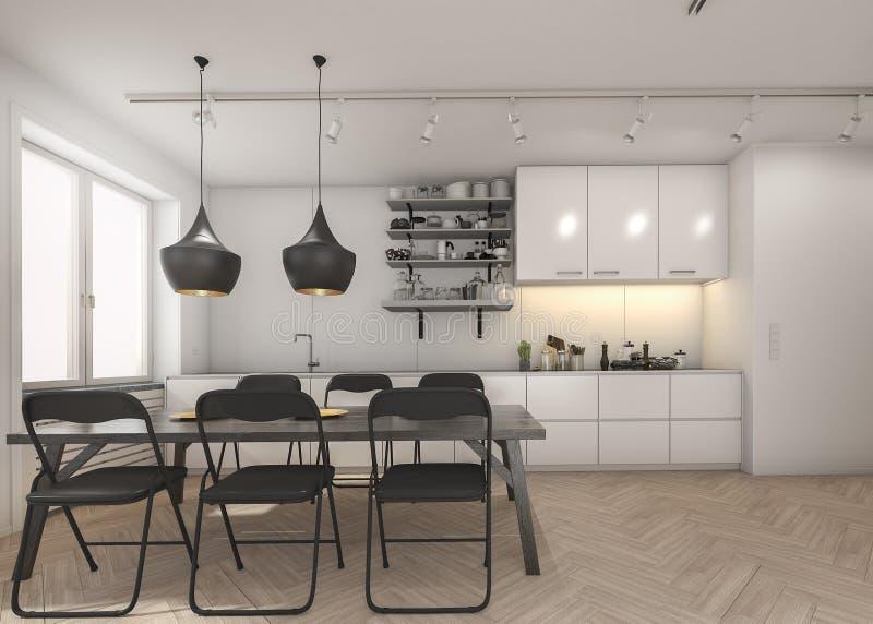 3d, das weiße Küche mit Holzfußboden und schwarzem Stuhl überträgt vektor abbildung