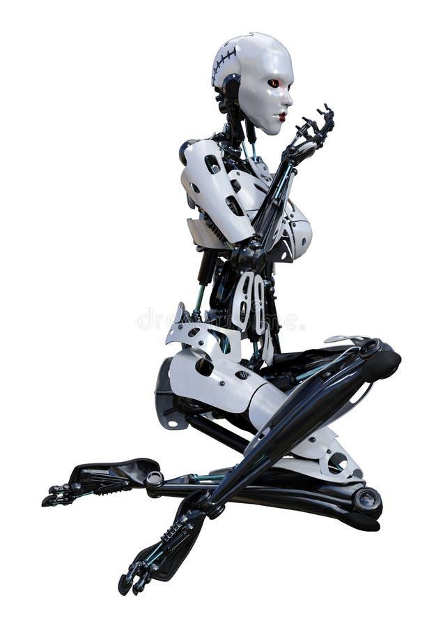 3D, das weiblichen Roboter auf Weiß überträgt lizenzfreie abbildung