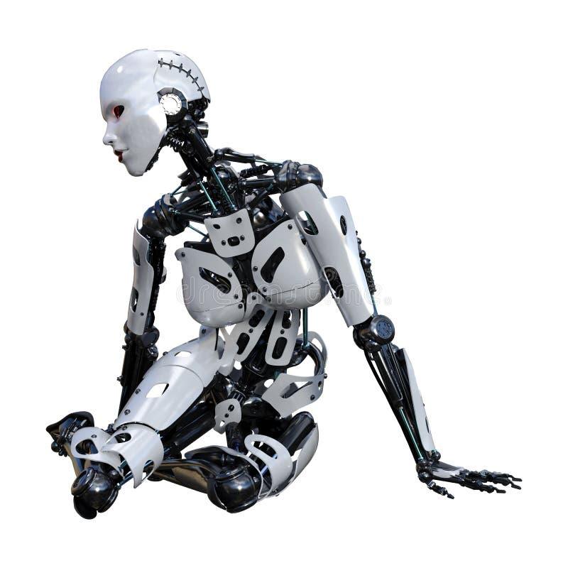 3D, das weiblichen Roboter auf Wei? ?bertr?gt lizenzfreie abbildung