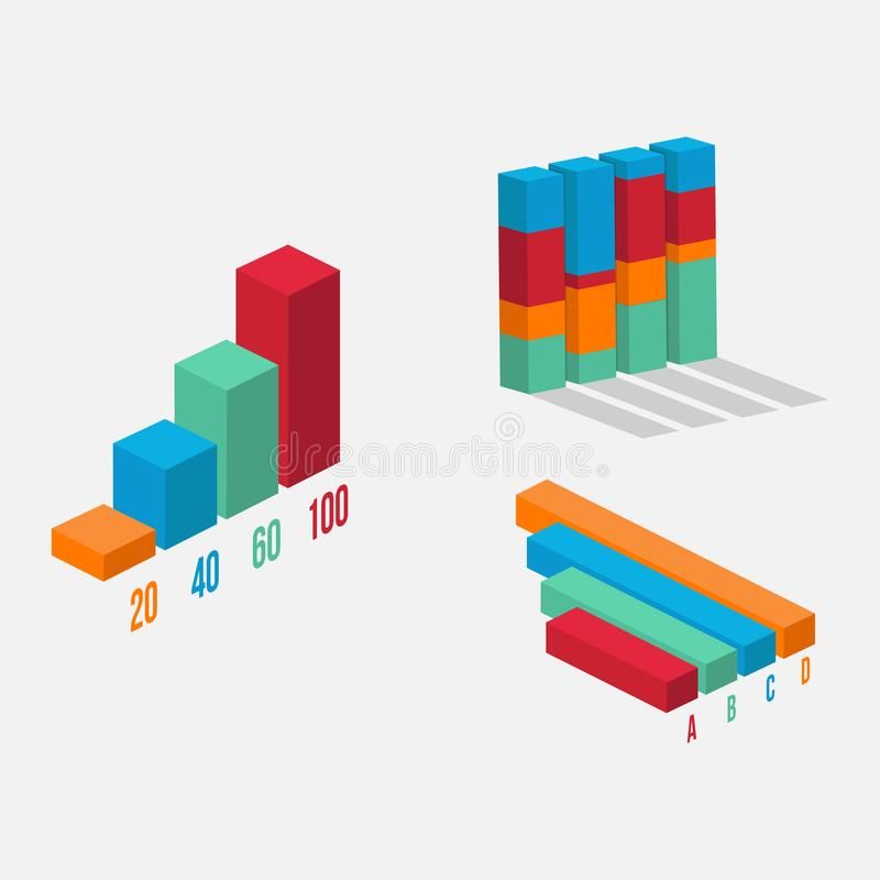 3D data tool infographic element vector. Chart and graphic. Business diagram data finance. infographic analysis tools vector illustration stock illustration