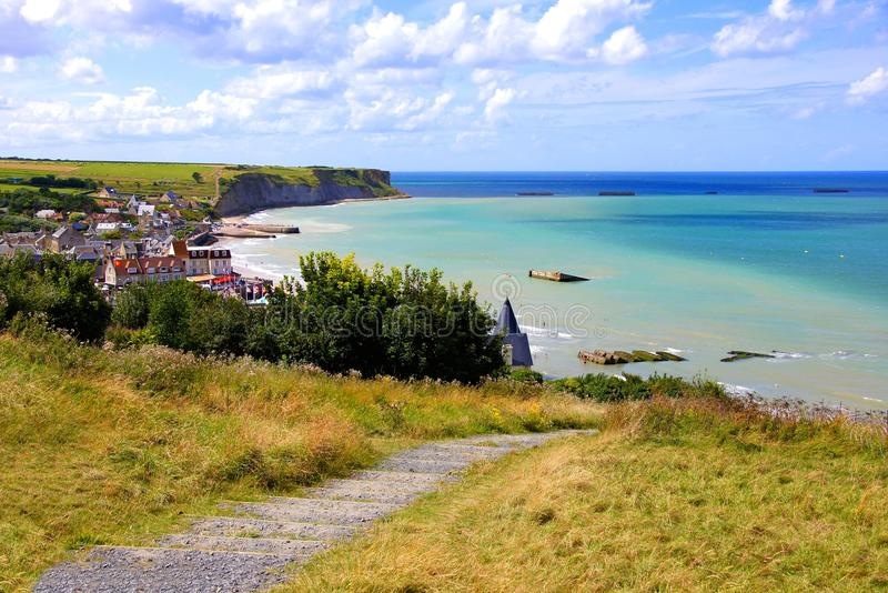 D-day beaches at Normandy, France stock images