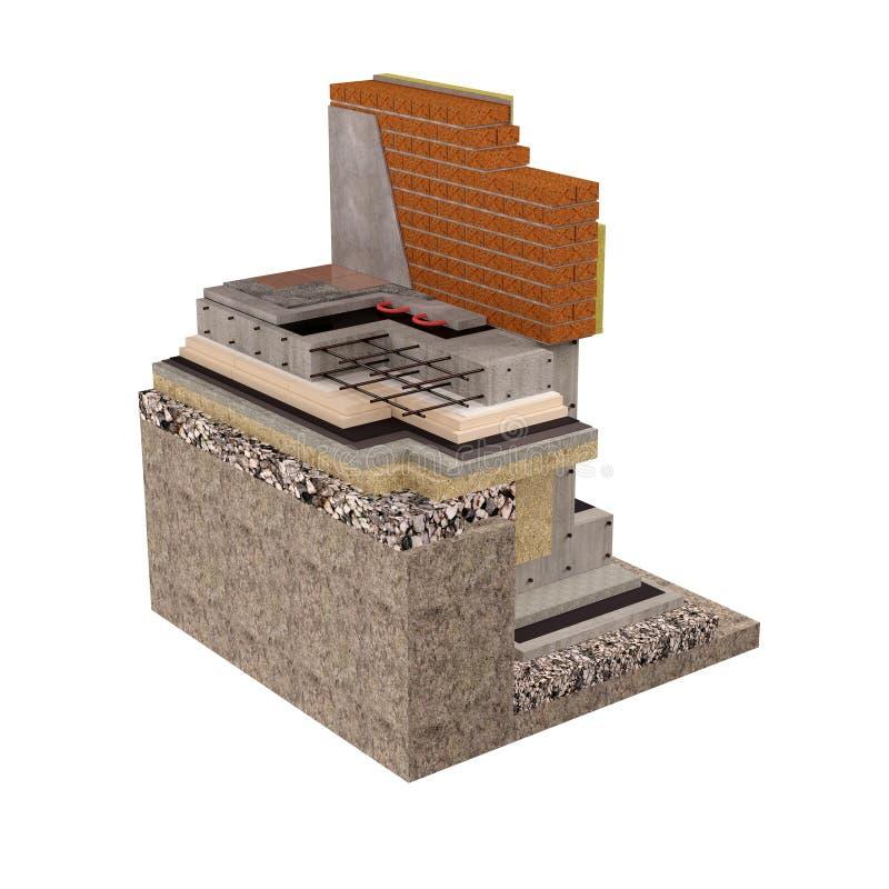 3d de alta calidad rinden la imagen del ordenador de fundaciones y de paredes con el aislamiento de la casa libre illustration