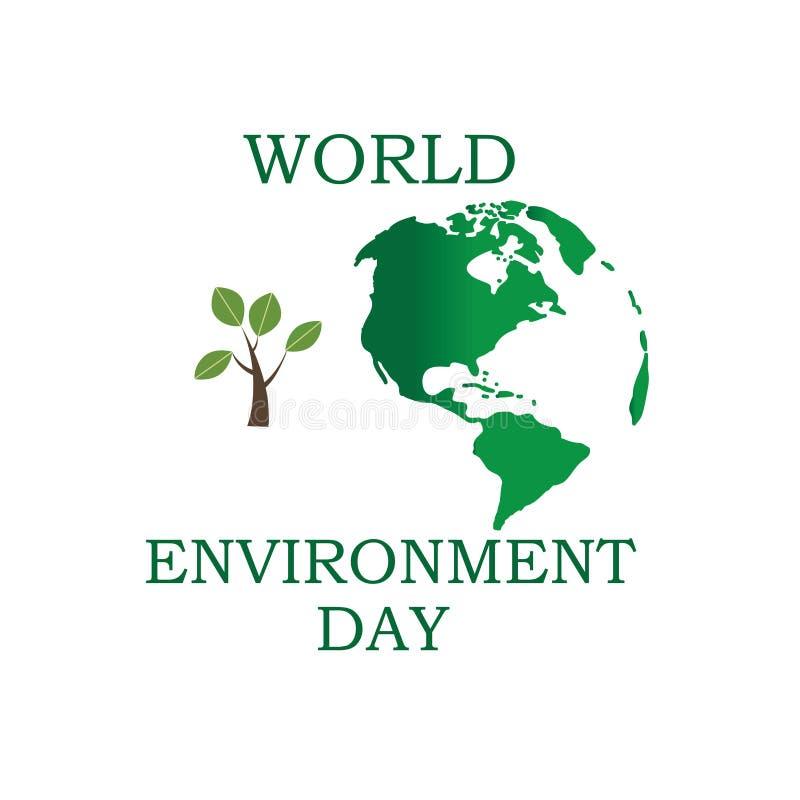 D?a de ambiente de mundo Concepto del d?a del ambiente mundial Tierra verde de Eco Ejemplo del vector del d?a del ambiente mundia ilustración del vector