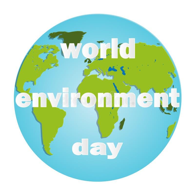 D?a de ambiente de mundo Fondo de la esfera de la energía Concepto verde Tierra del planeta Personaje de dibujos animados amistos stock de ilustración