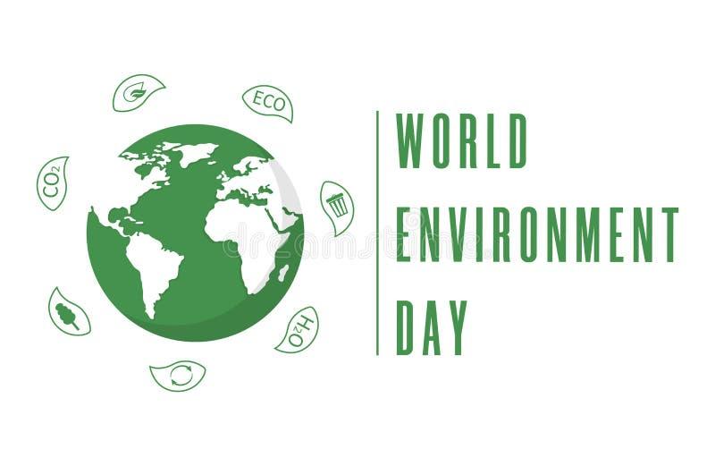 D?a de ambiente de mundo Globo de la tierra con las hojas Cartel o bandera creativo Planeta de la ecolog?a Dise?o amistoso de Eco stock de ilustración