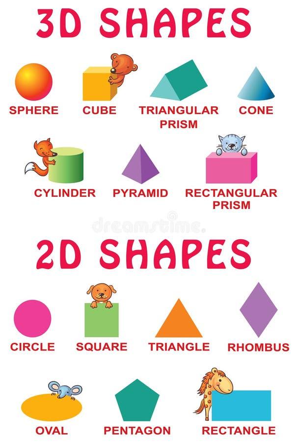 3d de base et 2d formes avec des animaux de bande dessinée pour des élèves du cours préparatoire illustration stock