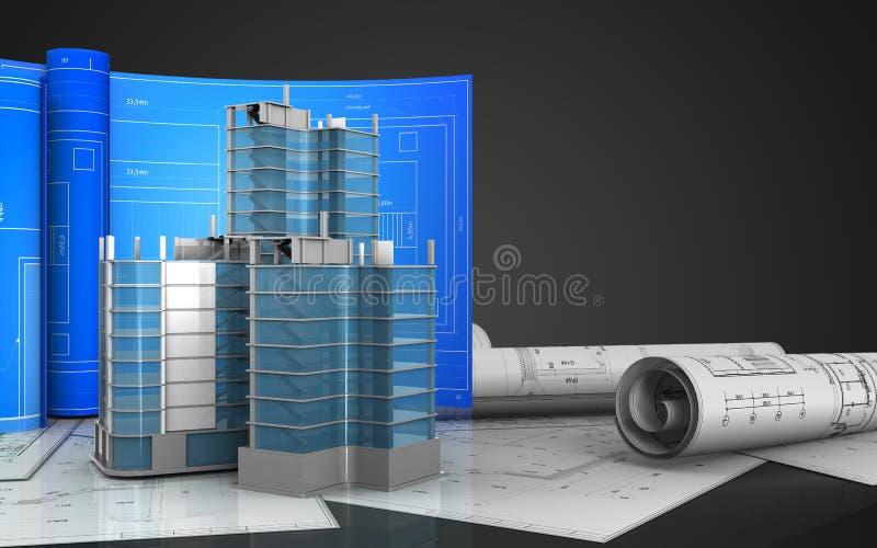 3d de construction de quart de ville illustration libre de droits