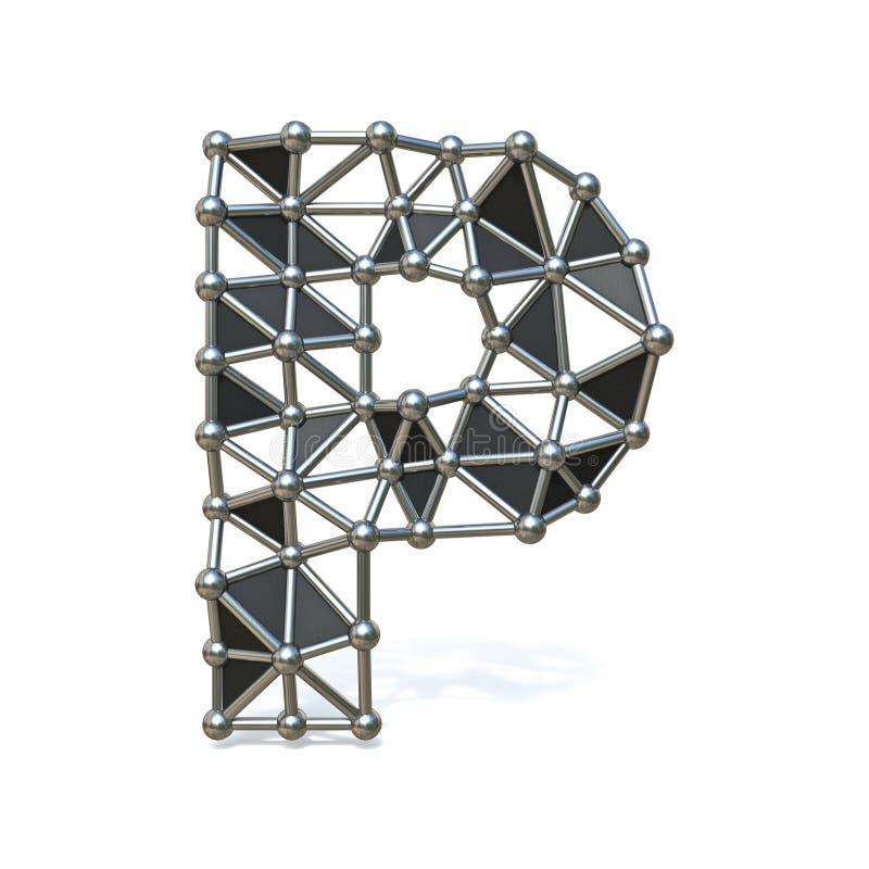 3D de Doopvontbrief P van het draad lage poly zwarte metaal vector illustratie