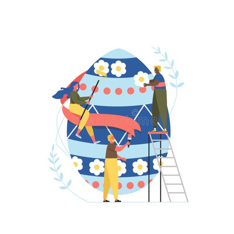 D?a de fiesta feliz de Pascua Huevo de Pascua colorido de la pintura de la familia y prepararse para la celebraci?n Ejemplo del v stock de ilustración