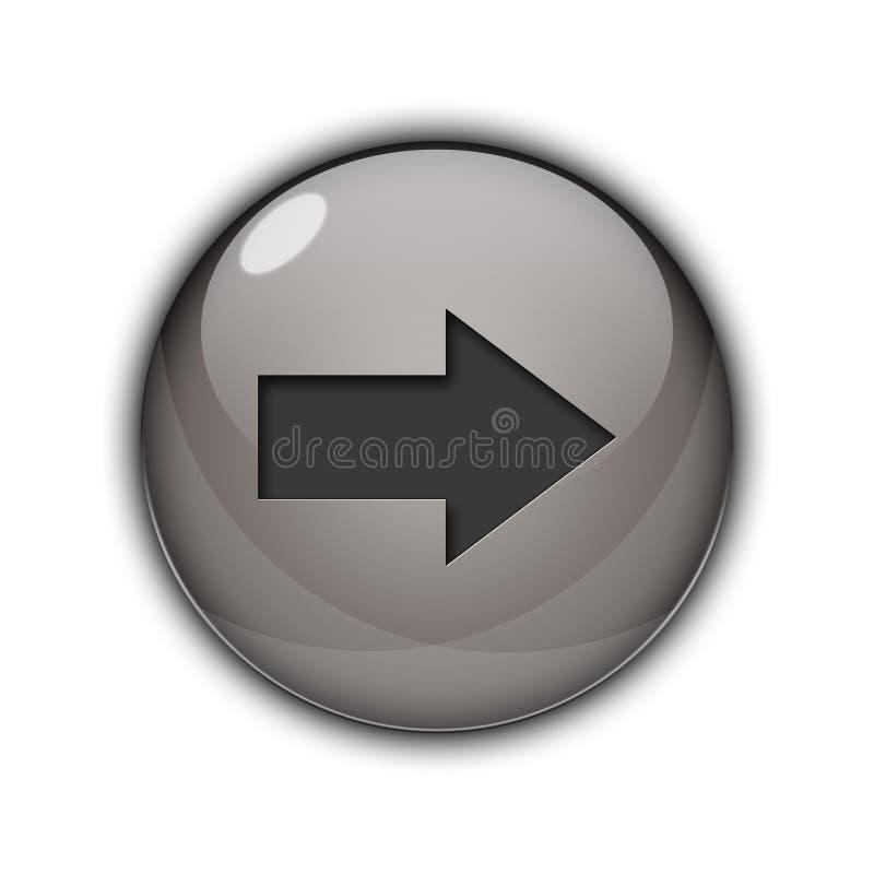 3D de juiste pijl zilveren kleur van het Knooppictogram royalty-vrije stock afbeelding