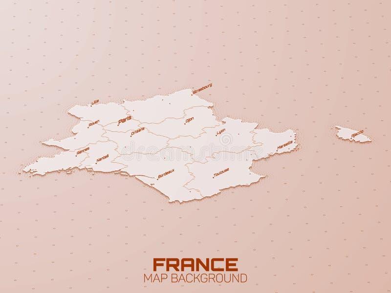 3d de kaartvisualisatie van Frankrijk Futuristische HUD-kaart Geografische informatieesthetica UI kaartontwerp Complex Frankrijk stock illustratie
