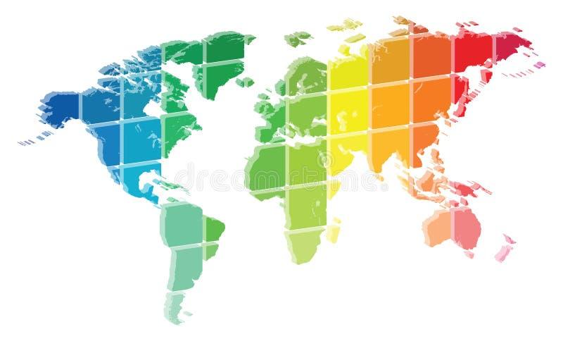 3D de Kleurenpalet van de Wereldkaart stock illustratie