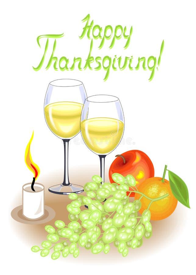 D?a de la acci?n de gracias Dos vidrios del vino blanco y de una vela Frutas, manzana, uvas y naranja del vintage Ilustraci?n del stock de ilustración