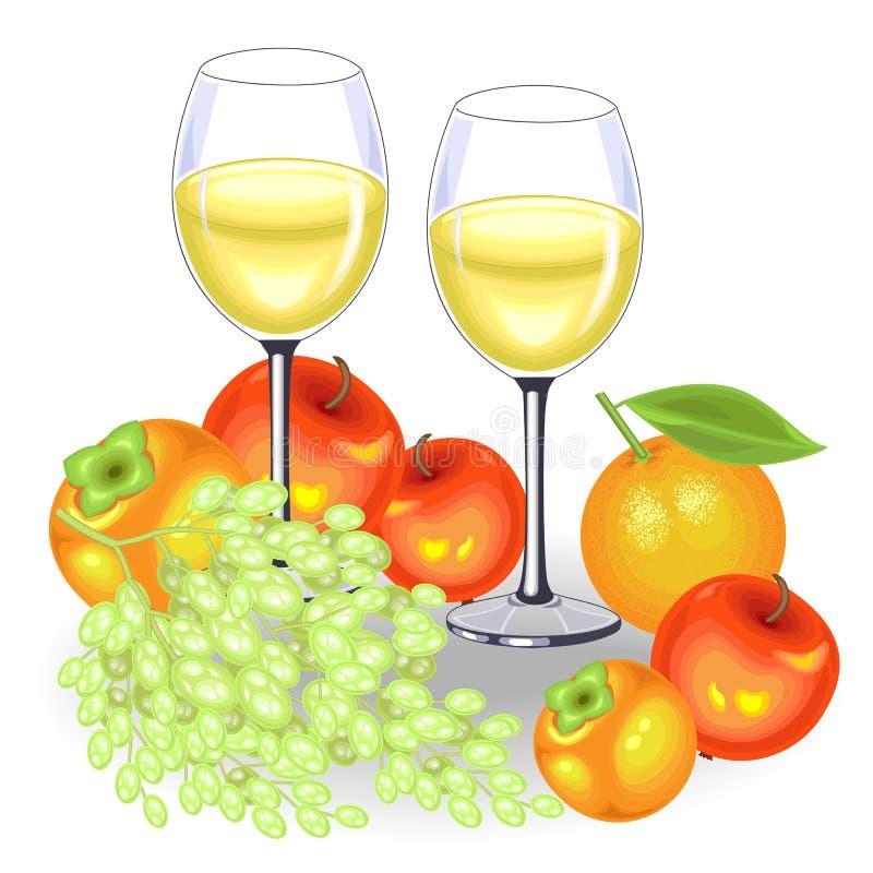 D?a de la acci?n de gracias En la tabla festiva son dos vidrios de vino blanco y de fruta Un manojo de uvas, manzanas, caquis y ilustración del vector