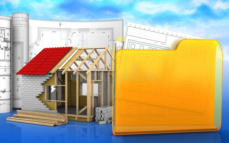 3d de la casa de marco stock de ilustración