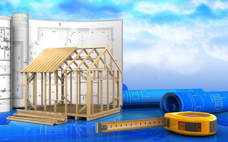 3d de la construcción de la casa de marco stock de ilustración