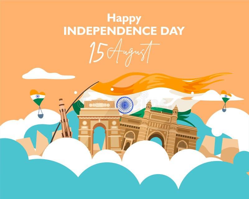D?a de la Independencia feliz la India 15 de agosto para el aviador, cartel, diseño del fondo de la bandera libre illustration