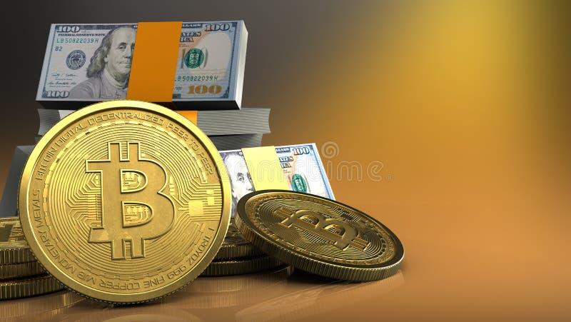 3d de la pila de los dólares stock de ilustración