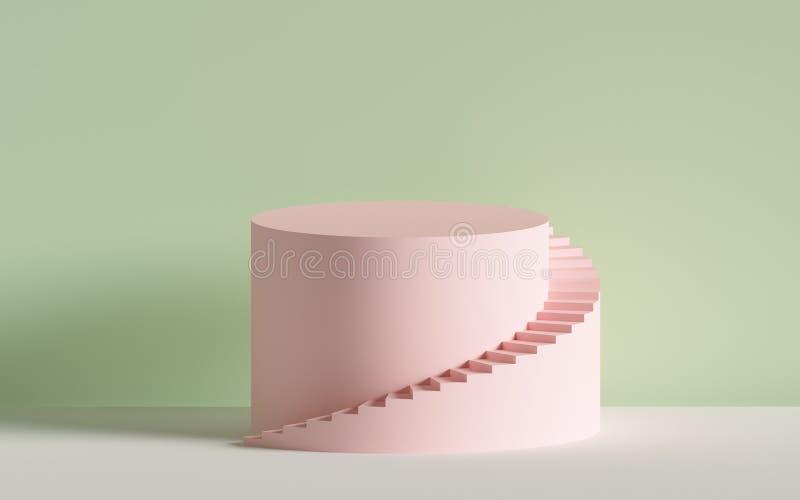 3d de las escaleras espirales rosadas, pasos, cilindro, fondo abstracto en colores en colores pastel, escena mínima stock de ilustración