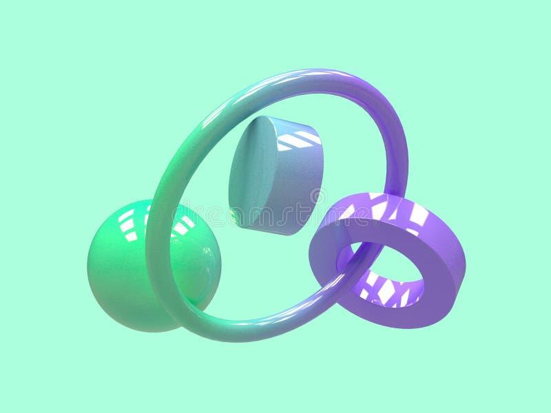 3d de levitatiesamenvatting van de gradiënt geeft de purpere groene geometrische vorm terug stock illustratie